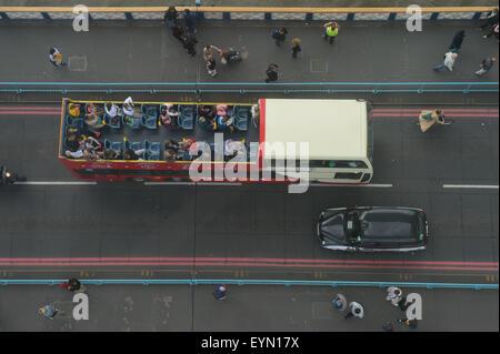 Tower Bridge from the air, London UK - Stock Photo