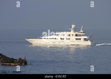 Luxury yacht Deep Blue sailing off the coast of Sicily - Stock Photo