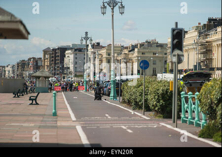 Brighton, UK, 1st August 2015. The Brighton & Hove Pride parade, in all it's usual colourful glory, was delayed - Stock Photo