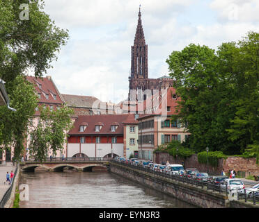 STRASBOURG, FRANCE - MAY 9, 2015:  Famous sandstone Notre Dame Cathedral in Strasbourg, capital of the Alsace region - Stock Photo