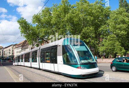 STRASBOURG, FRANCE - MAY 9, 2015:  Tram passing through a street in Strasbourg, capital of Alsace, France - Stock Photo
