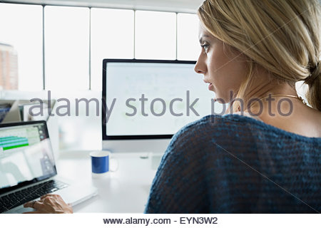 Businesswoman working at laptop and computer in office - Stock Photo
