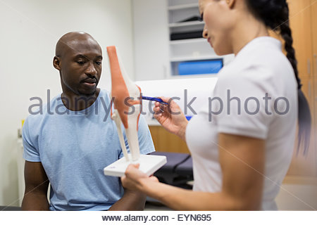 Physical therapist explaining knee model to patient - Stock Photo