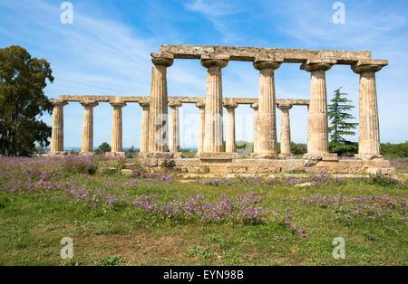 Palatine Tables, Hera Sanctuary in Metaponto, Basilicata, Italy - Stock Photo