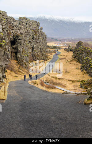 Thingvellir National Park rift valley with Law Rock in background, Iceland - Stock Photo