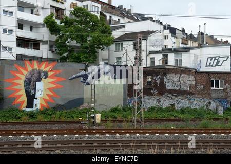 Railway graffiti, Wehrhahn, Dusseldorf, North Rhine-Westphalia, Germany. - Stock Photo