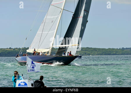 . Velsheda ( JK7) ( UK) laying the course for the windward buoy  in the 3 J-Class yachts race in  the Solent on - Stock Photo