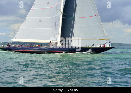 Velsheda ( JK7) ( UK) laying the course for the windward buoy  in the 3 J-Class yachts race in  the Solent on the - Stock Photo