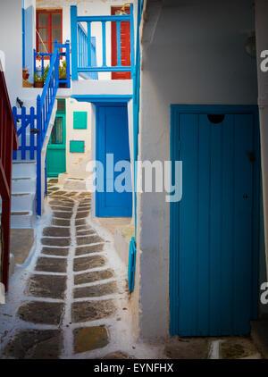 Streets in Mykonos town on the Greek island of Mykonos. - Stock Photo
