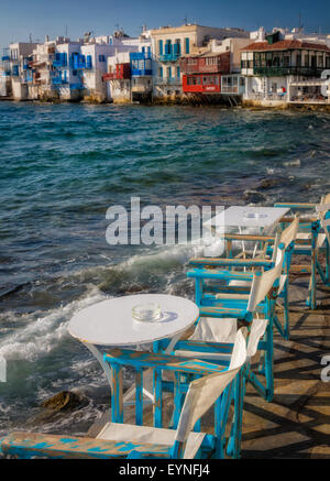 Mykonos Little Venice - rows of fishing houses line the waterfront with their balconies hanging over the sea. - Stock Photo