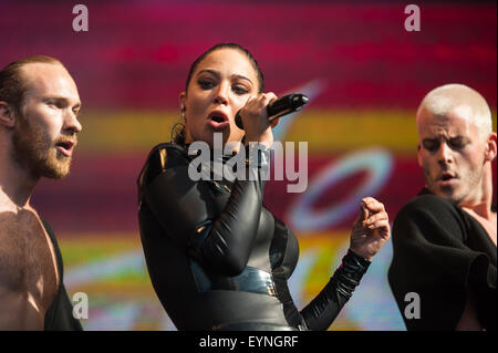 Brighton, UK, 1st August 2015. Tulisa performs on the Main Stage at Brighton's Pride festival event at Preston Park. - Stock Photo