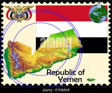 Yemen map flag coat stamp - Stock Photo