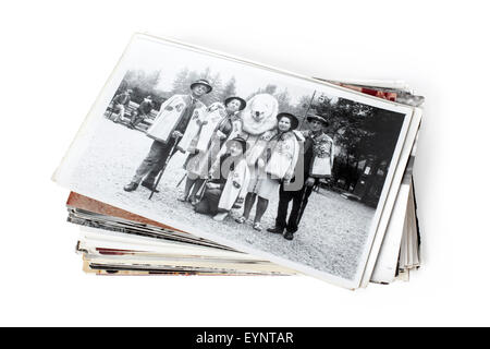 Stack of old family photographs - Stock Photo