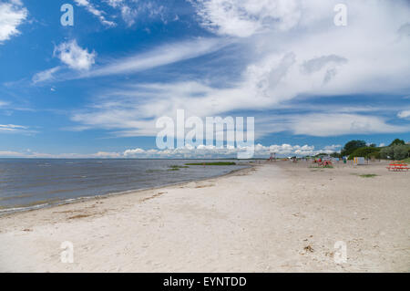 Lonely sand beach of Parnu city, Estonia - Stock Photo