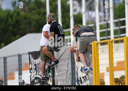ITALY, Lignano: Udinese's fans during the friendly pre-season football match Udinese Calcio v SC Bastia on 1st August, - Stock Photo