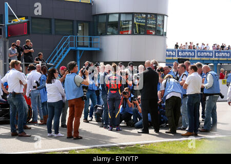 Media attention in Max Verstappen the youngest World Championship Grand Prix F1 driver in the history of the sport - Stock Photo