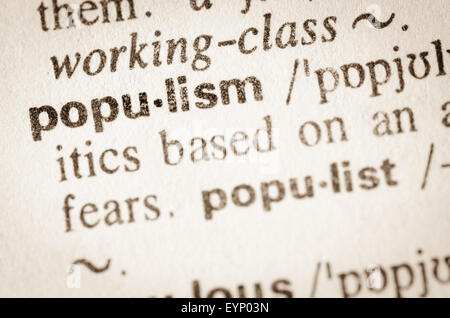 Definition of word populism in dictionary - Stock Photo