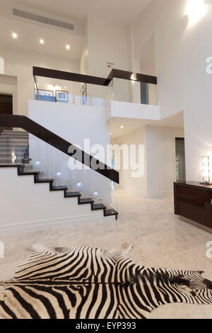 Luxurious hallway with zebra skin carpet in front of a modern style staircase - Stock Photo