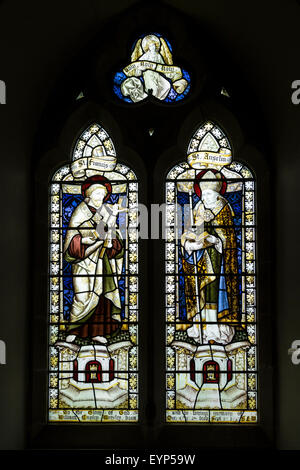 Stained glass window, All Saints Church, Hovingham, North Yorkshire - Stock Photo