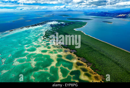 Coral reef network and lagoon in northern Fiji - Stock Photo