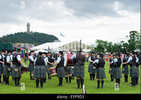 Bridge of Allan, Scotland, 2nd of August 2015. Bridge of Allan Highland Games 2015. Pipe bands, sporting and traditional - Stock Photo