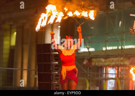 Stockton-on-Tees, UK, Saturday, 1st August, 2015. Performer from Circus Central, an arts charity in North East England, - Stock Photo