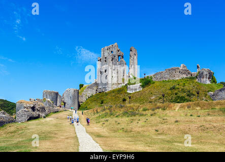 The ruins of Corfe Castle from the outer bailey, Isle of Purbeck, Dorset, England, UK - Stock Photo