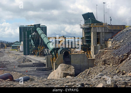 WESTPORT, NEW ZEALAND, MARCH 11, 2015: A coal washing facility at an open cast coal mine helps to glean more value - Stock Photo