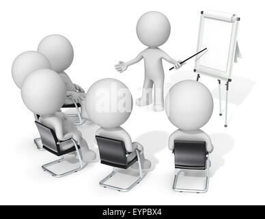 Dude the Business people X 6 at meeting. Looking at blank flip chart. Copy space. - Stock Photo