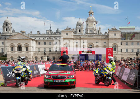 Professional cyclists gather at the start of the Prudential RideLondon London-Surrey Classic cycling race in Horse - Stock Photo