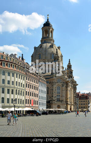 Church of Our Lady on the New Market of Dresden in Germany. - Stock Photo