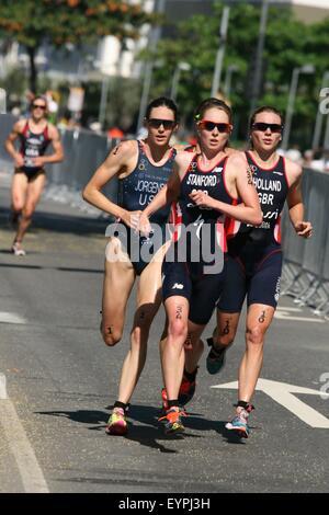 Rio de Janeiro, Brazil, 2nd August 2015. Gwen Jorgensen (USA), Non Stanford (GBR) and Vicky Holland (GBR), winner, - Stock Photo