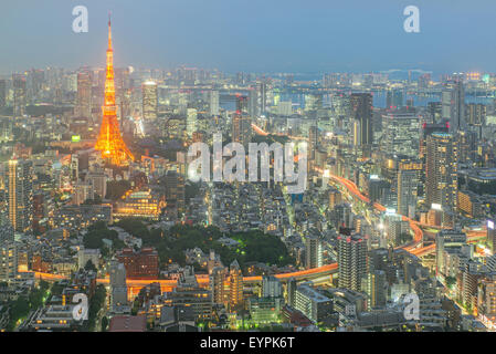 Tokyo tower at night in Tokyo, Japan - Stock Photo