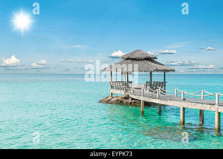 Summer, Travel, Vacation and Holiday concept - Wooden pier in Phuket, Thailand - Stock Photo