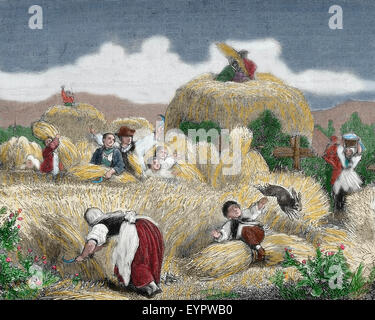 History agriculture. Mowing. Engraving, 19th century. Colored. - Stock Photo