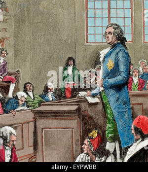 French Revolution (1789-1799). The convention. Judgment of Louis XVI of France. Engraving. History of France, 1882. - Stock Photo