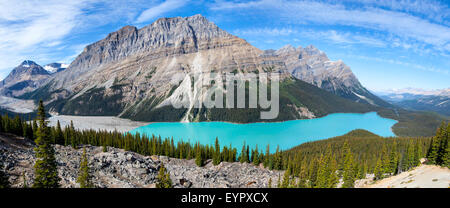Panorama of Peyto Lake Banff National Park Alberta Canada - Stock Photo
