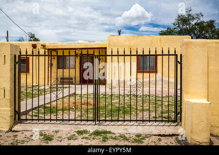 A village home in the Pueblo of Isleta, New Mexico, USA. - Stock Photo