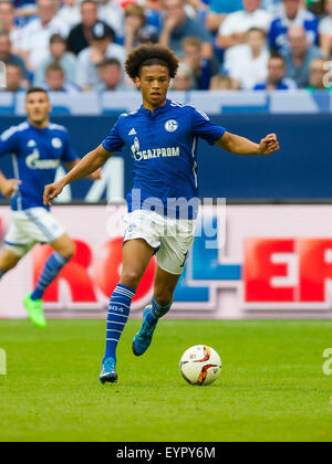 Gelsenkirchen, Germany. 02nd Aug, 2015. Schalke's Leroy Sane in action during a soccer friendly match between FC - Stock Photo