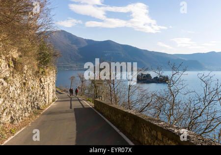 Italy, Lombardy, Iseo lake, Isola di Loreto viewed from Monte Isola - Stock Photo
