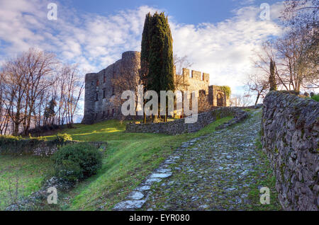 Italy, Lombardy, Iseo lake, Monte Isola, Rocca Martinengo - Stock Photo