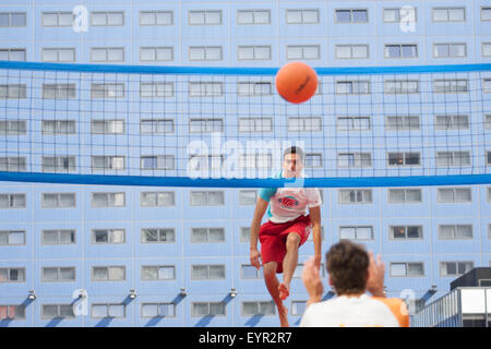 THE HAGUE - Bossaball, a combination of volleyball, football, gymnastics and capoeira is being played by the Dutch - Stock Photo