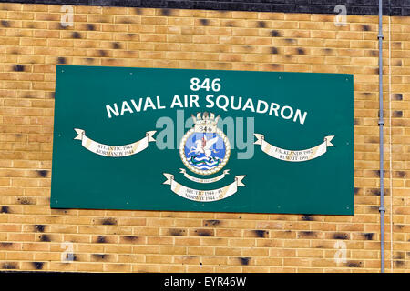 846 Naval Air Squadron Sign at RNAS Yeovilton, Somerset, United Kingdom. - Stock Photo