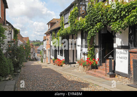 The picturesque quaint cobbled Mermaid Street, in the historic Cinque Ports town of Rye, East Sussex, England, UK - Stock Photo
