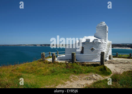 The Huer's Hut, Used in past times to watch for shoals of herring, Newquay, Cornwall, England - Stock Photo