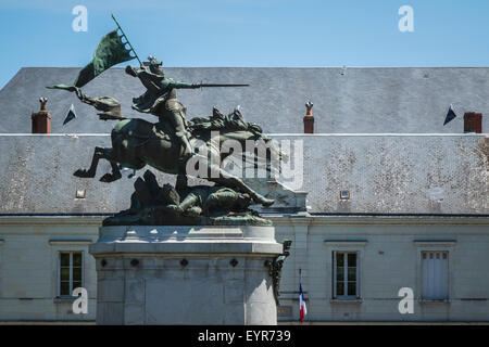 Jean D'Arc Monument, Joan Of Arc monument in Chinon, Indre-et-Loire, France. - Stock Photo