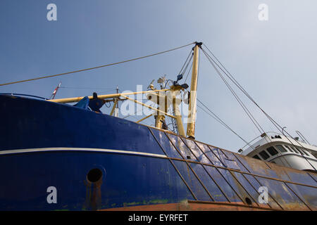 Big fishing cutter at a shipyard for maintenance - Stock Photo