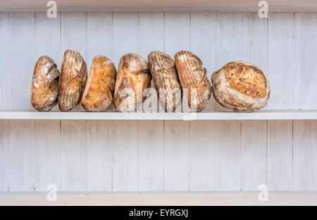 Various traditionally made sourdough breads in a bakery, Devon UK - Stock Photo