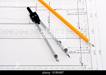 Building plan of reinforced concrete construction with compasses and pencil - Stock Photo
