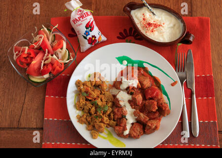 Hungarian food, beef goulash, side dishes, - Stock Photo